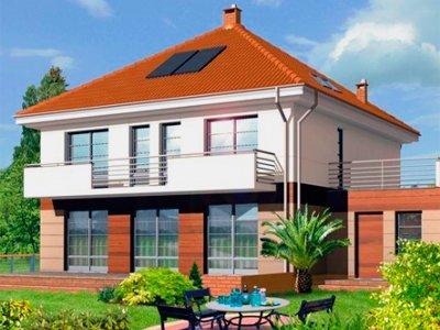 Двухэтажный дом с шатровой крышей